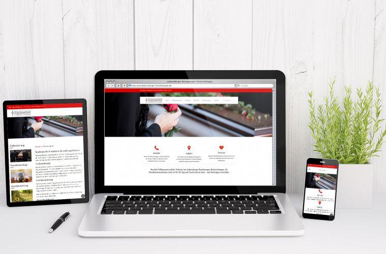 Leibersberger Bestattungen – Website, Responsive Webdesign, Flyer und Logo